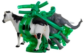 Sculpture of cow and elephant tied in green tubing