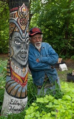 Eddie Harris with painted tree