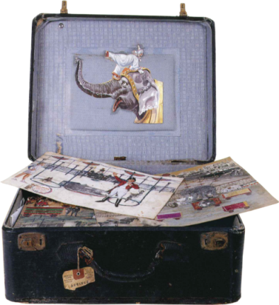 Suitcase with elephant and circus images
