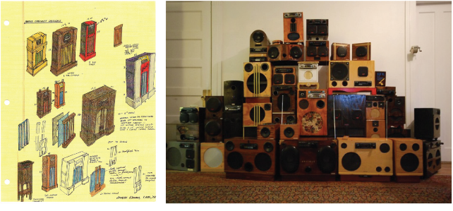 Drawing of radios on left. Radio sculpture in gallery on right.