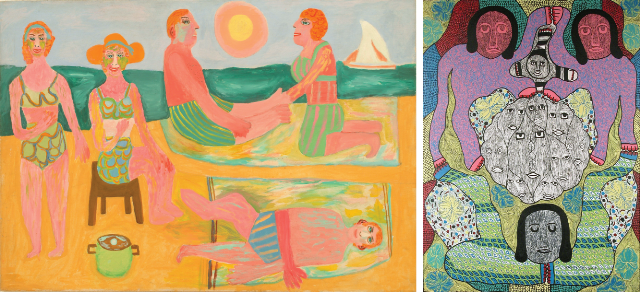 Pauline Simon painting of figures on the beach on the left. Figures and faces on right.