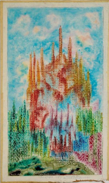 Painting of towers in landscape by Eugene von Breunchenhein with texture created using corrugated cardboard