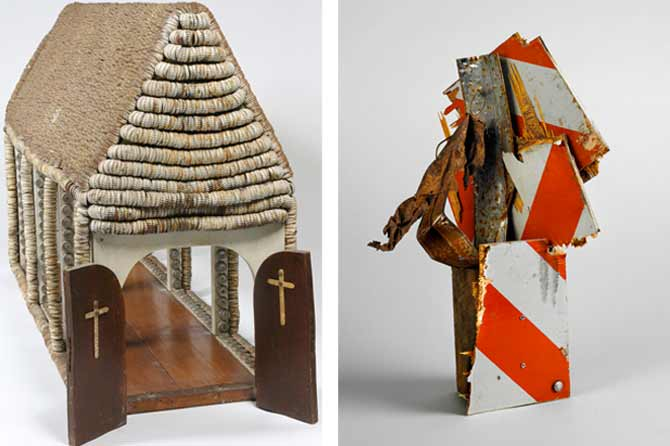 Sculpture of church made out of wood and bottle caps on the left; abstract sculpture by Lonnie Hollie on the right