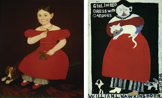 Painting on the left by Ammi Phillips of a young girl in a red dress with her dog juxtaposed with painting on the right by William Hawkins of a similar young girl in a red dress with a cat and two dogs