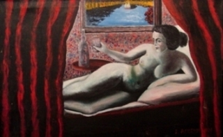 Painting of nude reclining woman holding a glass and framed by red curtains