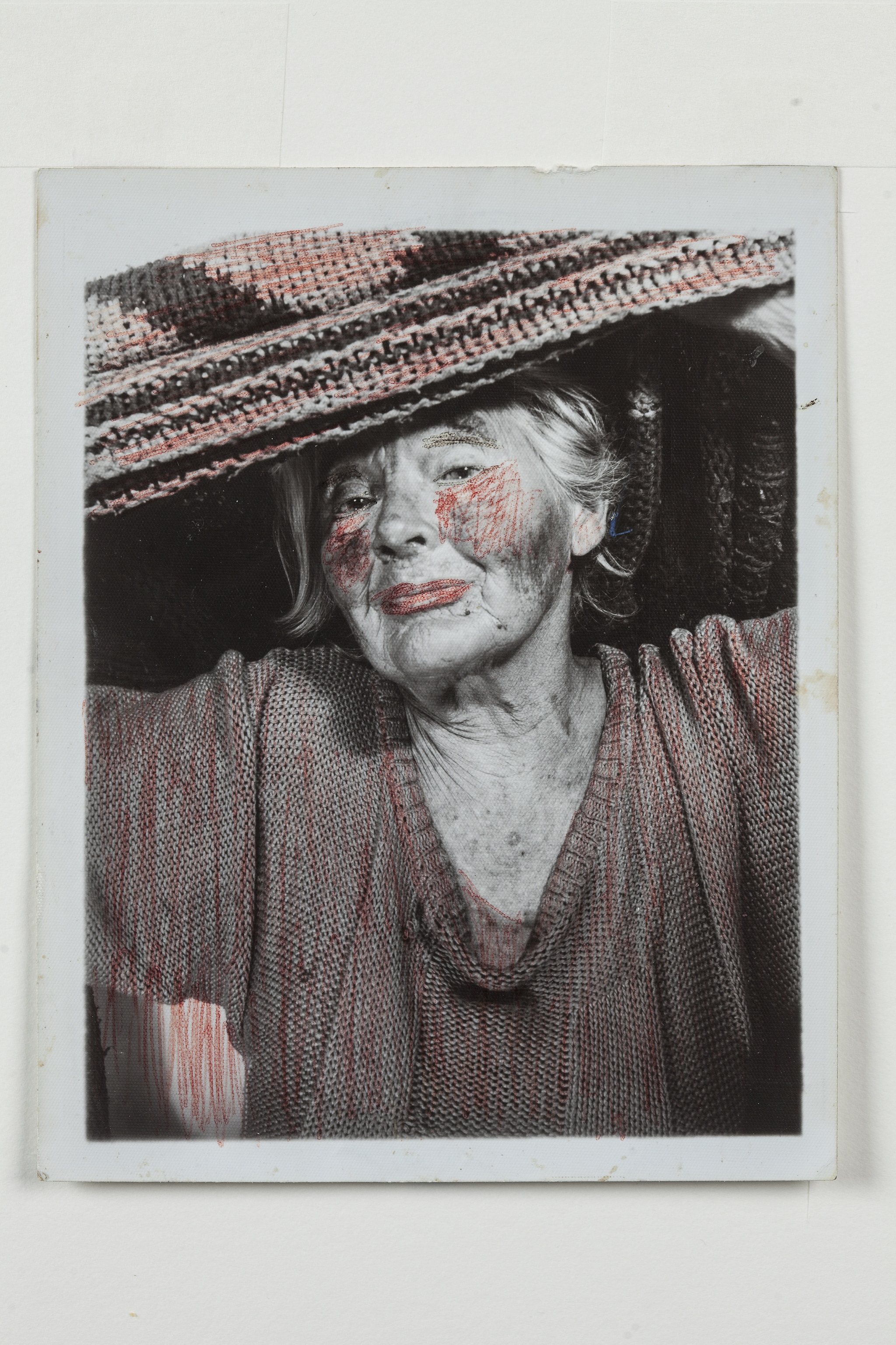 Lee Godie, untitled, n.d.; gelatin silver print and ink; 15 ½ x 14 ¼ in. Collection of Scott H. Lang, IL.