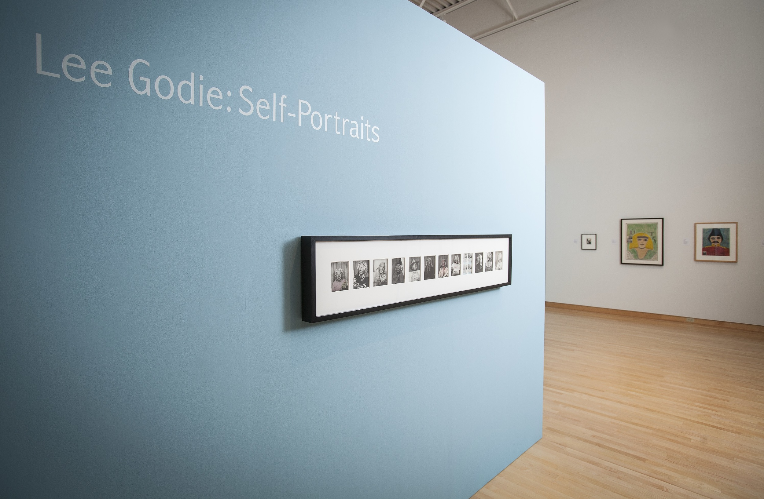 Installation view of Lee Godie: Self-Portraits at the John Michael Kohler Arts Center, 9/2015.