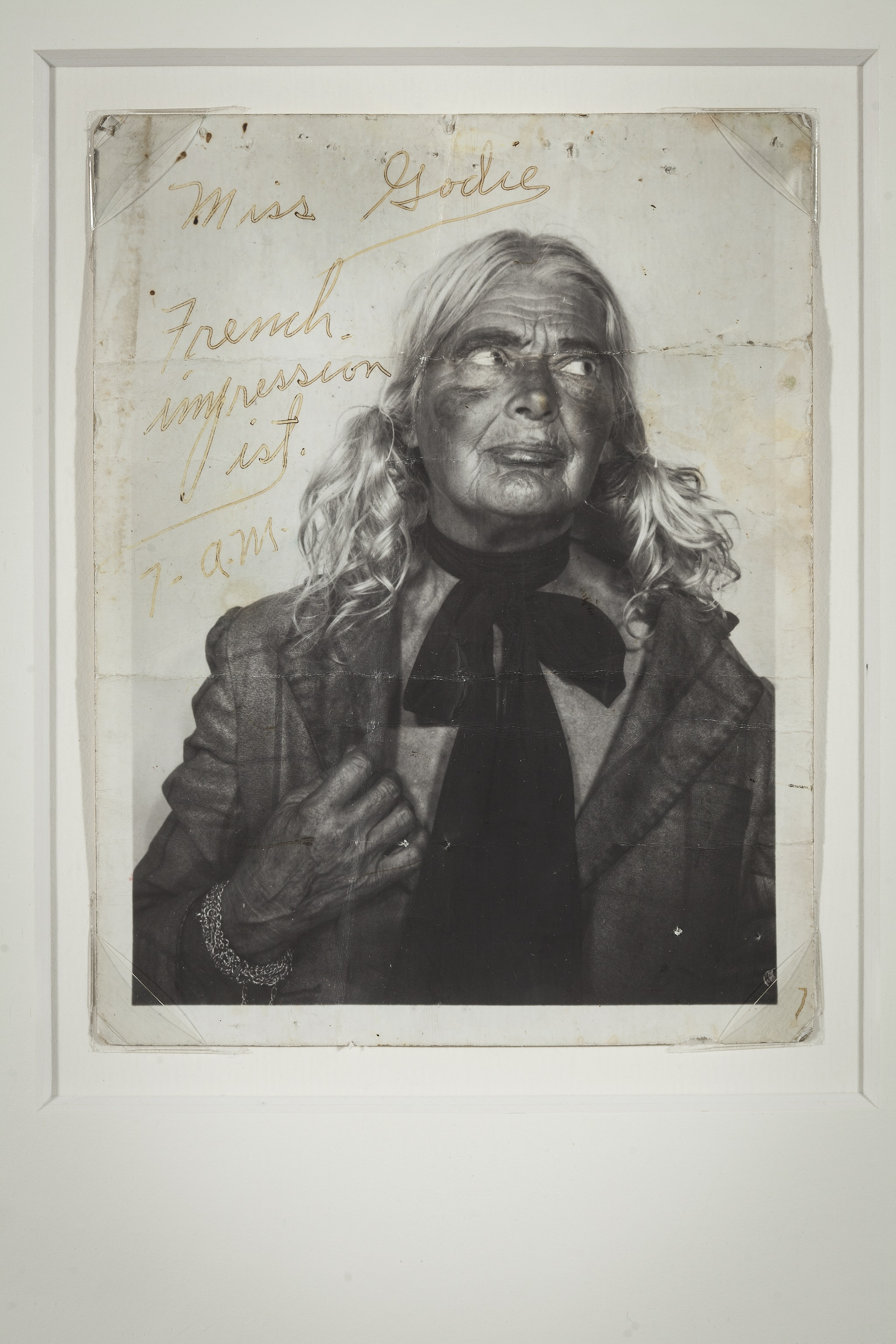 Lee Godie, Untitled (self-portrait), c. 1970–80; gelatin silver print and ink; 5 x 3 3/4 in. Collection of Carl Hammer, IL.