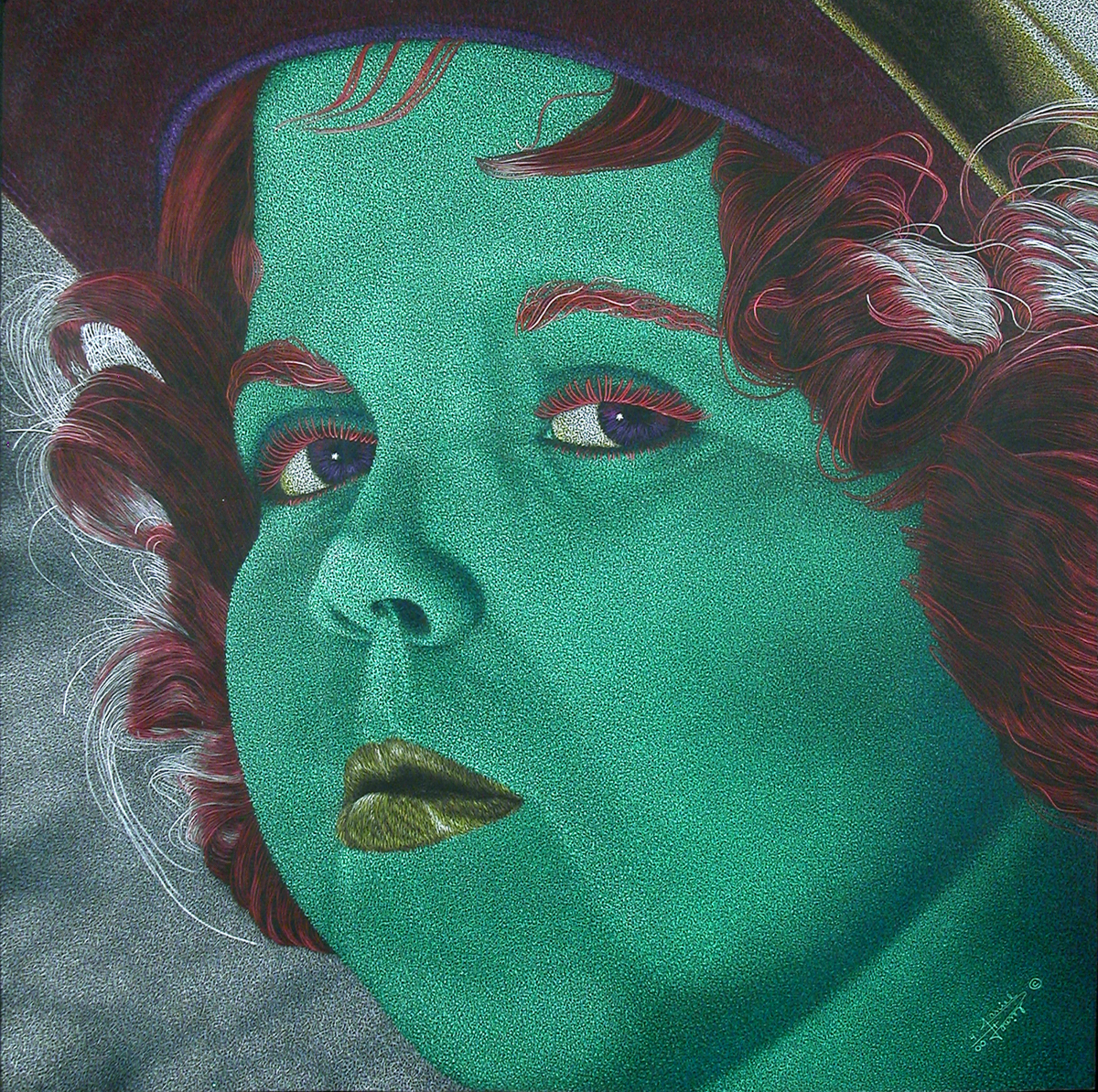 Drawing of woman with red hair and a green face and mouth by Daniel Watson