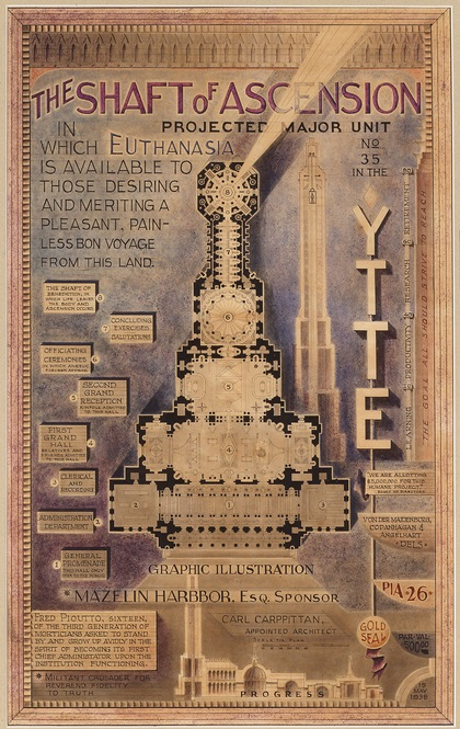 Drawing with text and cathedral-like structure by Achilles G. Rizzoli