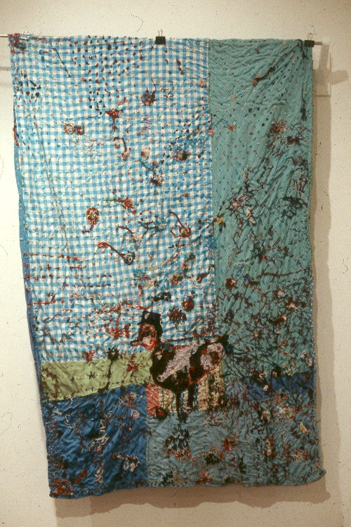 "Blue quilt by Marie ""Big Mama"" Roseman featuring duck"
