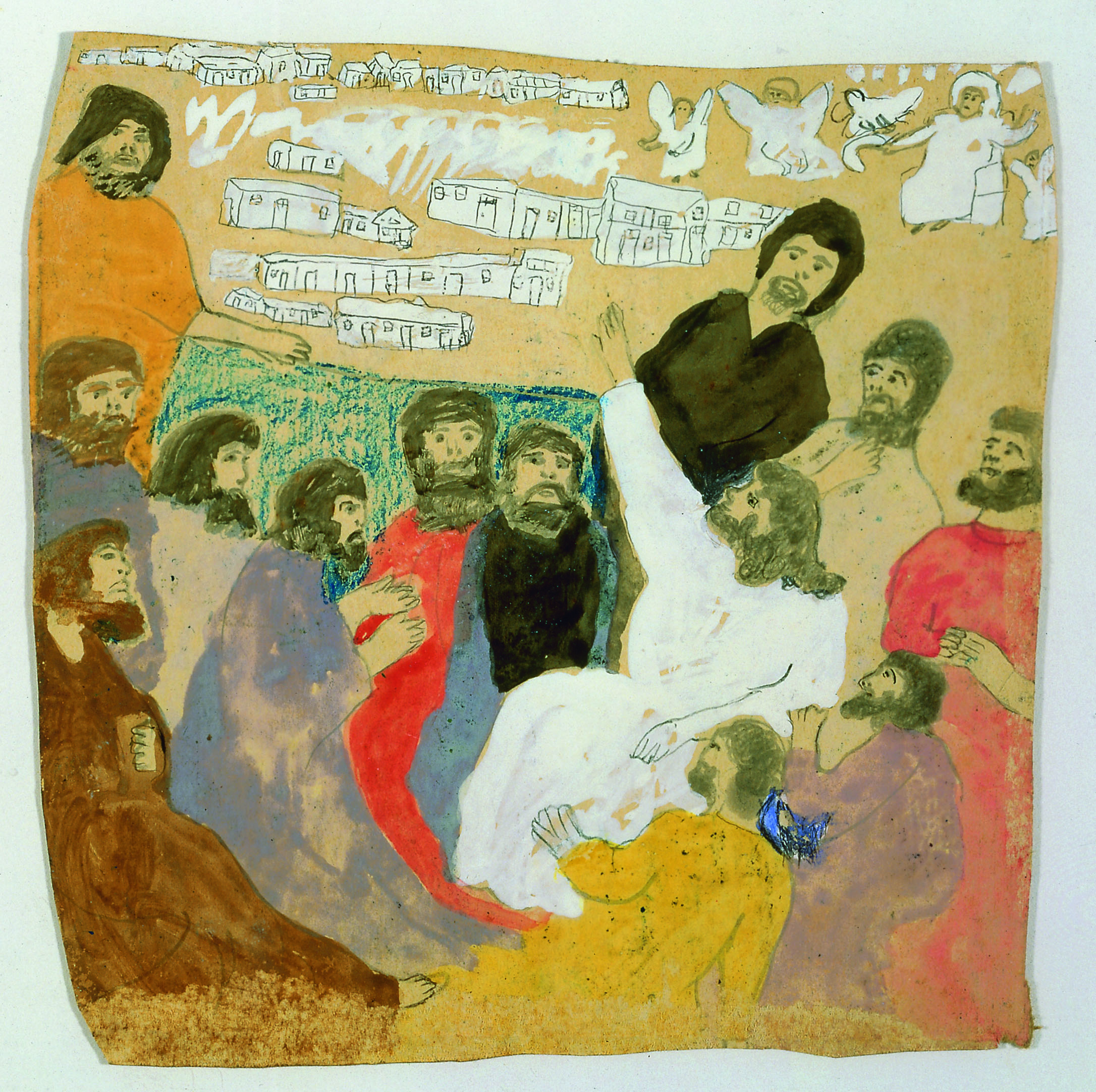 Mixed media work by Gertrude Morgan featuring gathering of men