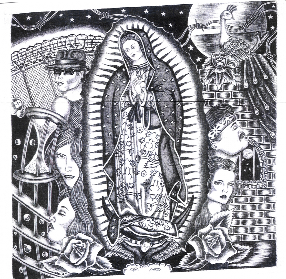 Black and white artwork by Chicano prisoner featuring Mary surrounded by faces