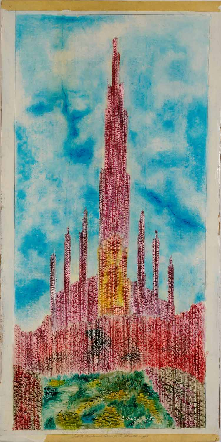 Eugene Von Bruenchenhein (American, 1910-1983).  Flame Complex/ Tribute to Thomas Edison for Light in the Night/ Age of Colored Stone , 1978. Paint on board, 39 ½ x 19 ¼ in. Intuit: The Center for Intuitive and Outsider Art, gift of Lewis and Jean Greenblatt, 2007.19.2