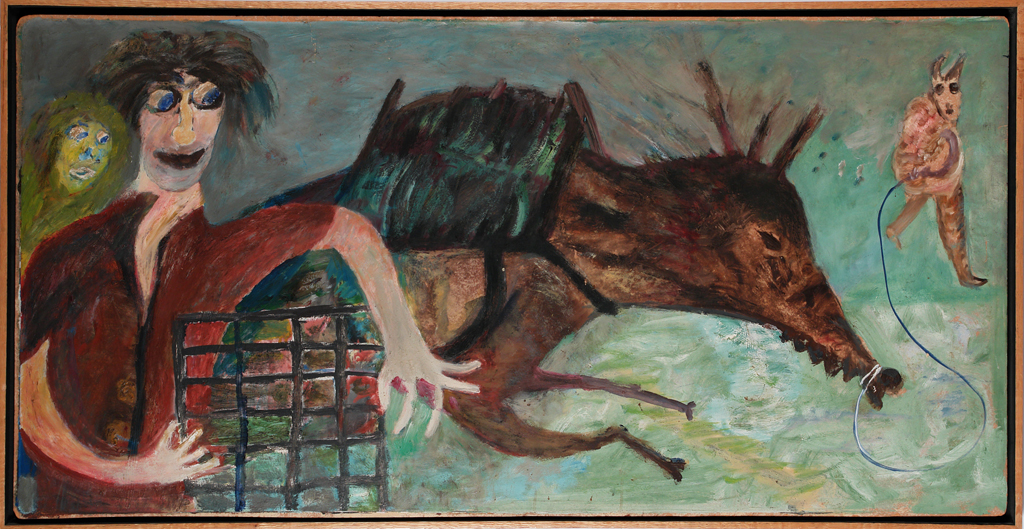 Jon Serl (American, 1894-1993).  Untitled (Couple with boar) , ca. 1972. Oil on canvas, 25 ½ x 49 ¼ in. Intuit: The Center for Intuitive and Outsider Art, gift of Thomas Isenberg,  2006.24.2
