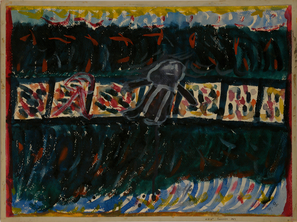 Betty Zakoian (American, 1908-1978).  Night Journey , n.d. Tempera on cardboard, 15 x 20 in. Intuit: The Center for Intuitive and Outsider Art, gift of the Zakoian family, 2007.5.44