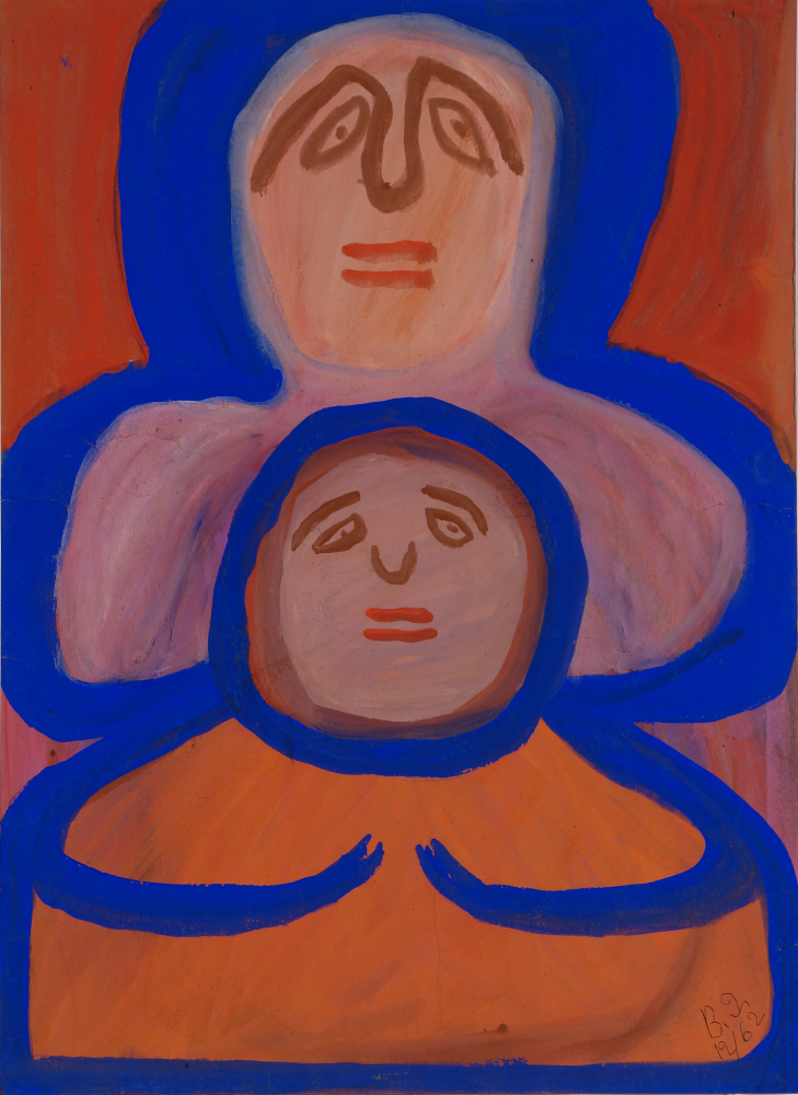 Betty Zakoian (American, 1908-1978).  Untitled (Double portrait) , n.d. Tempera on cardboard, 22 x 16 in. Intuit: The Center for Intuitive and Outsider Art, gift of the Zakoian family, 2007.5.48