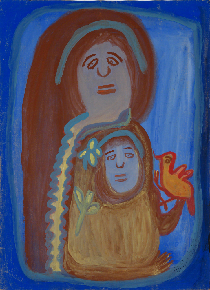 Betty Zakoian (American, 1908-1978).  Untitled (Mother with Child and Bird) , n.d. Tempera on cardboard, 22 x 16 in. Intuit: The Center for Intuitive and Outsider Art, gift of the Zakoian family,  2007.5.49