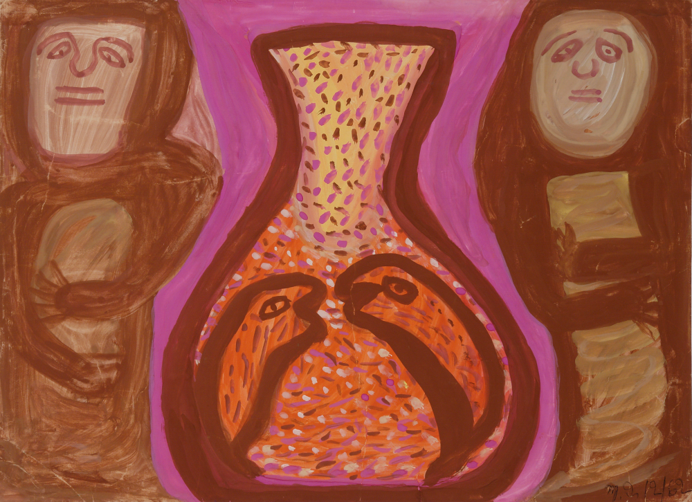 Betty Zakoian (American, 1908-1978).  Untitled (Two figures in brown) , n.d. Tempera on cardboard, 16 x 22 in. Intuit: The Center for Intuitive and Outsider Art, gift of the Zakoian family, 2007.5.50
