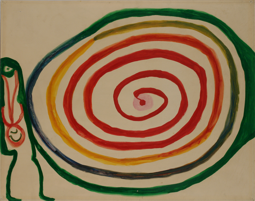 Betty Zakoian (American, 1908-1978).  Untitled (Green, yellow and red spiral) , n.d. Tempera on paper, 21 ¾ x 27 ¾ in. Intuit: The Center for Intuitive and Outsider Art, gift of the Zakoian family, 2007.5.58