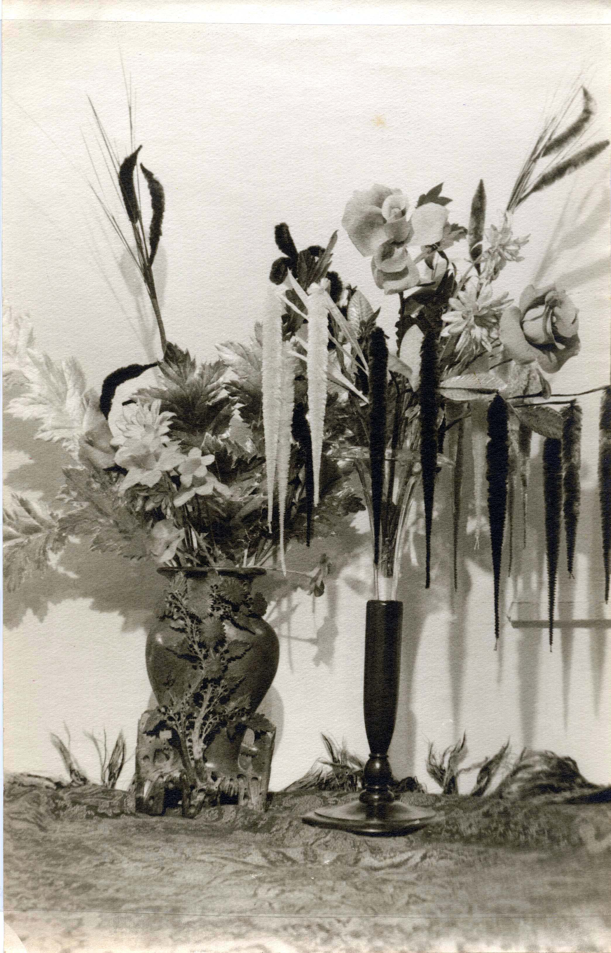 Eugene Von Bruenchenhein (American, 1910-1983).  Untitled (Floral still-life; interior of home) , n.d. Gelatin silver print, 11 x 7 in. Intuit: The Center for Intuitive and Outsider Art, gift of Lewis and Jean Greenblatt, 2005.4.35