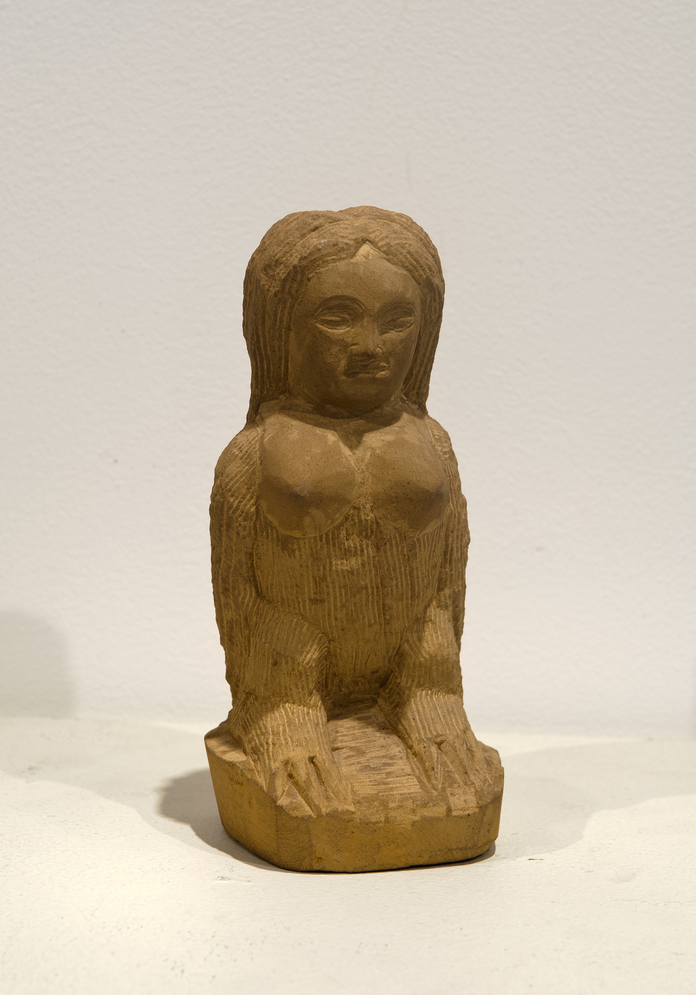"Ernest ""Popeye"" Reed (American, 1919-1985).  Untitled (Female figure/bird) , n.d. Carved stone, 8 ½ x 4 x 3 ½ in. Intuit: The Center for Intuitive and Outsider Art, gift of Jan Petry, 2012.4"