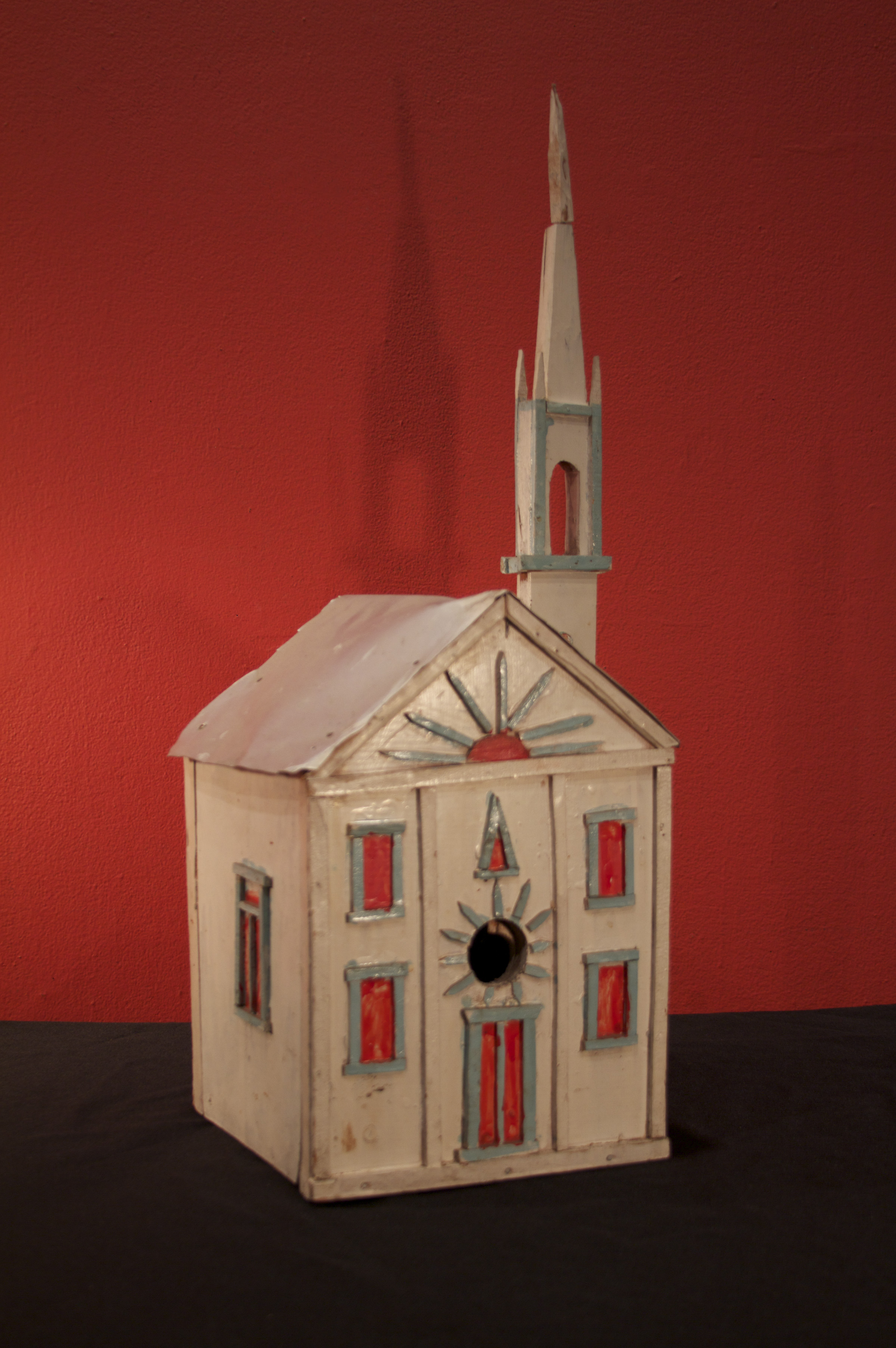 "Aldobrando ""Aldo"" Piacenza (American, 1888-1976).  Single Tower Cathedral , 1960. Wood, paint, and metal, 28 x 13 x 19 in. Intuit: The Center for Intuitive and Outsider Art, gift of Paula Giannini, 2014.4"
