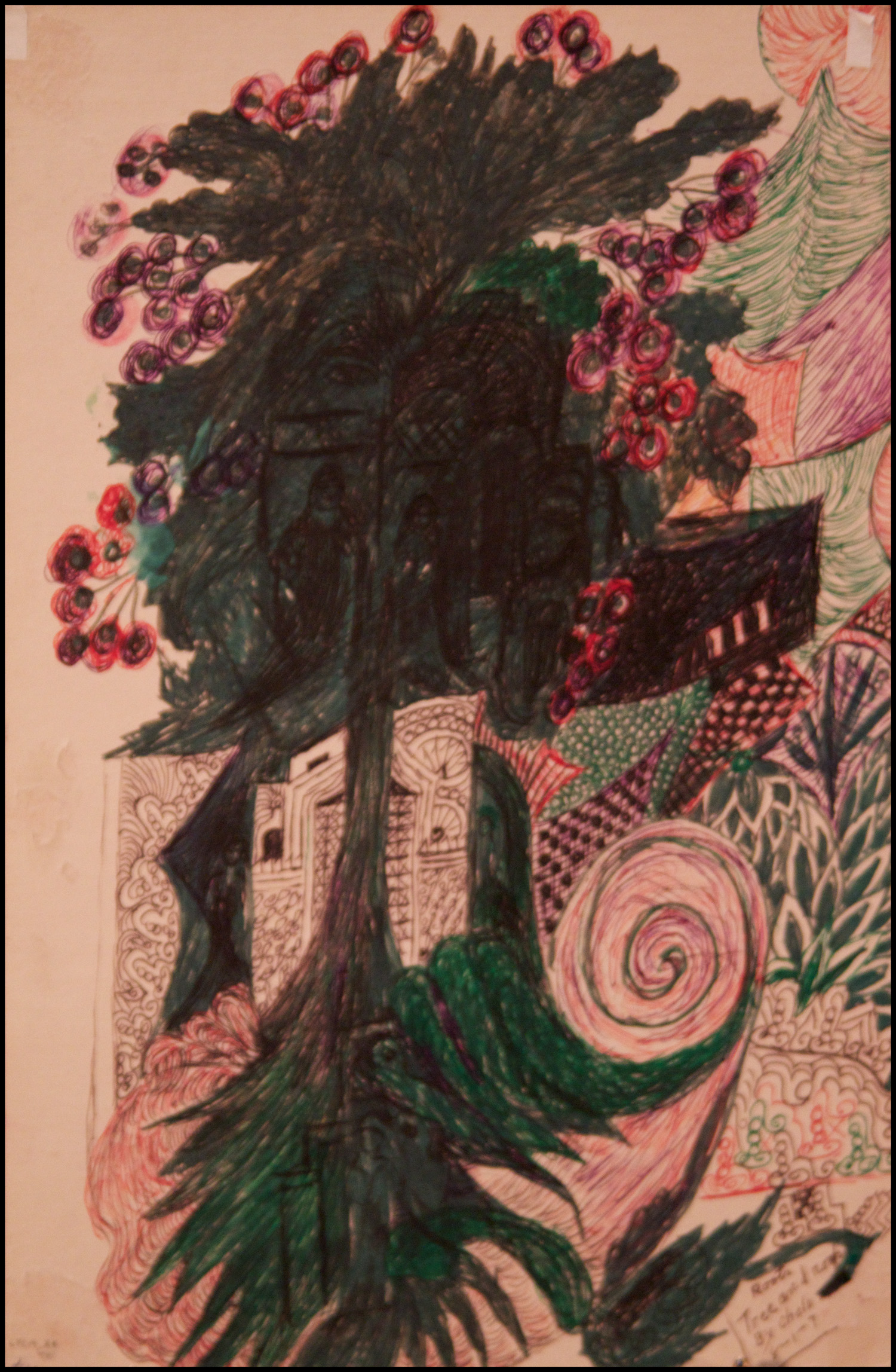 "Consuelo ""Chelo"" Gonzalez Amezcua (American, 1903-1975).  Tree and Roots , August 1, 1974---Verso: August 2, 1974. Ink on paper, 12 x 8 in. Intuit: The Center for Intuitive and Outsider Art, gift of Cleo F. Wilson, 2014.2a"