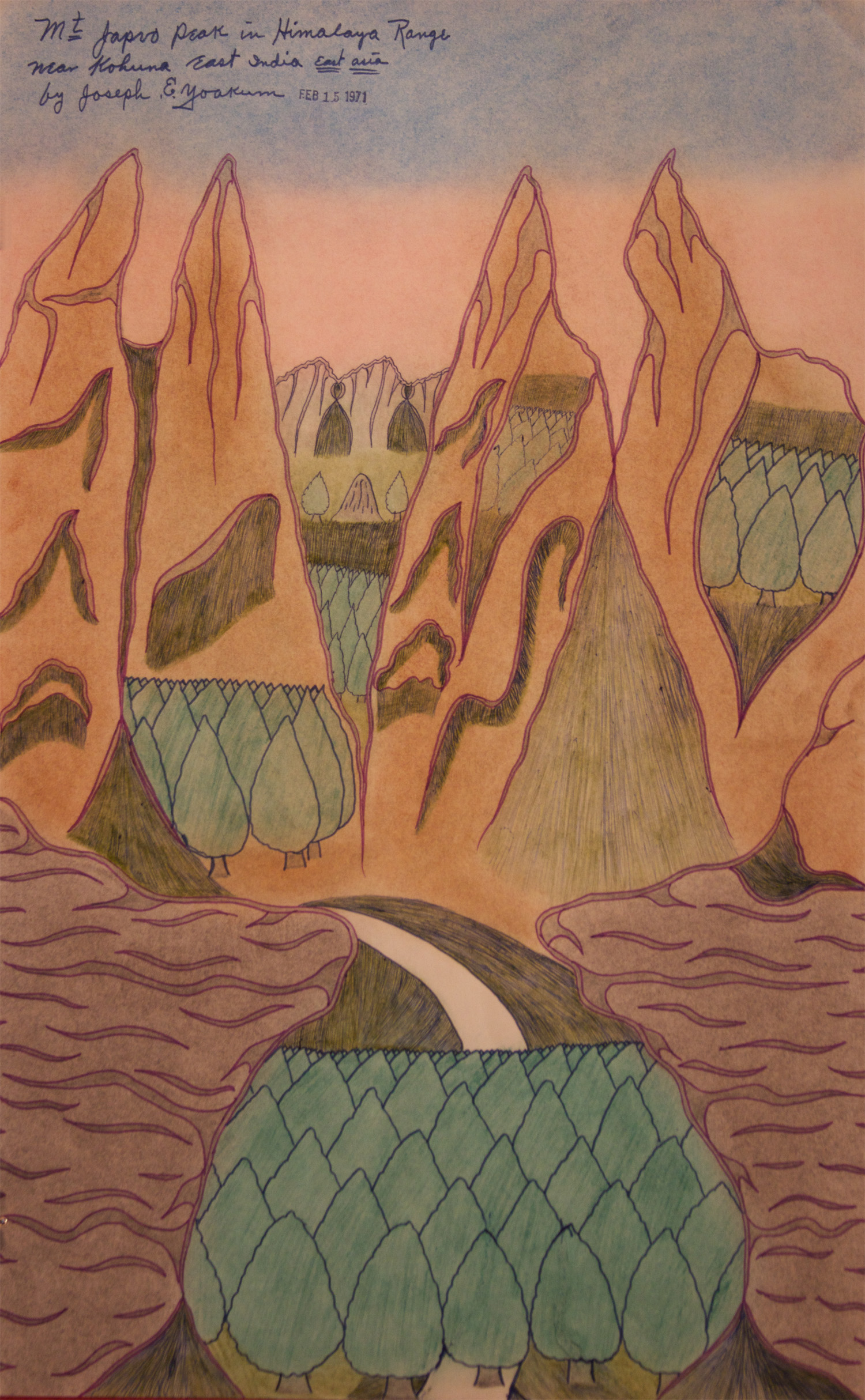 Joseph E. Yoakum (American, 1886-1972).  Mt. Japvo peak in Himalaya Range , February 5, 1971. Colored pencil on paper, 19 x 11.875 in.Intuit: The Center for Intuitive and Outsider Art, Gift of Martha Griffin, 2014.5.2