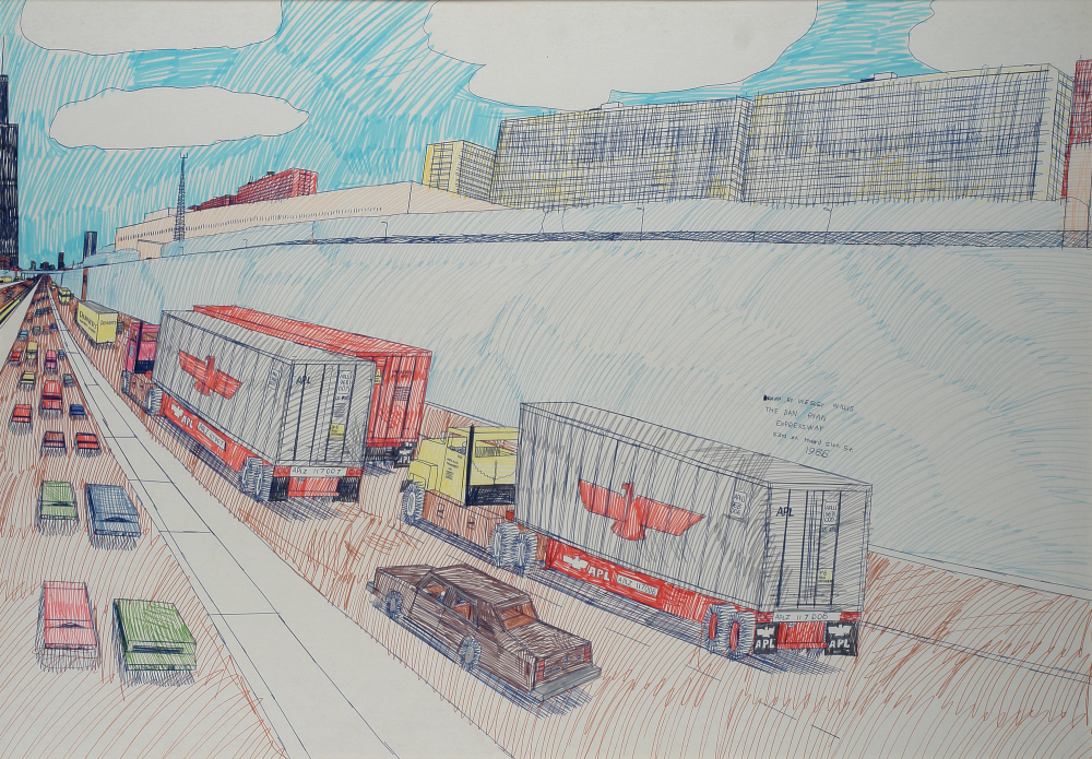 Wesley Willis (American, 1963-2003).  The Dan Ryan Expressway , 1986. Ink on paper, 27 5/8 x 39 1/2 in. Intuit: The Center for Intuitive and Outsider Art, gift of Barbara and Kent Manning, 2007.16.2