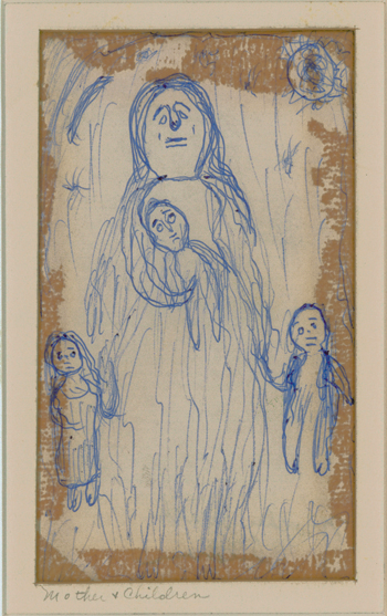 Betty Zakoian (American, 1908-1978),  Mother and Children , n.d. Ink on paper, 4 ¾ x 3 ¼ in. Intuit: The Center for Intuitive and Outsider Art, gift of the Zakoian Family, 2007.5.39b