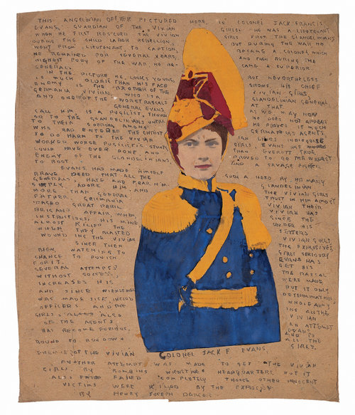 Henry Darger (American, 1892-1973).  COLONEL JACK F EVANS , mid-twentieth century. Watercolor, pencil, ink, and collage on board, 13 ¾ x 11 ½ in. Collection American Folk Art Museum, New York, museum purchase, 2002.22.5. © 2017 Kiyoko Lerner / Artists Rights Society (ARS), New York. Photo credit: Gavin Ashworth, © American Folk Art Museum/Art Resource, NY.