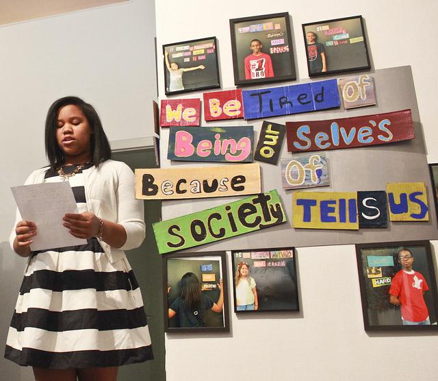 Student presenting artwork