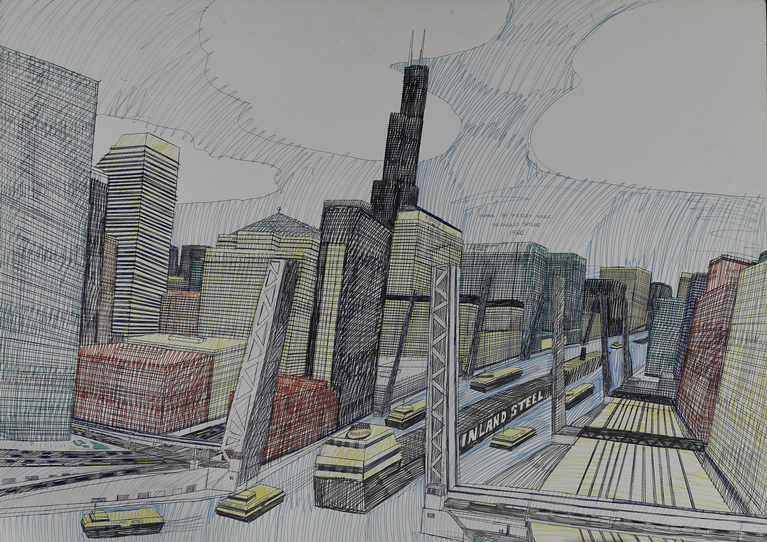 Wesley Willis (American, 1963-2003).  The Chicago Skyline, Sears Tower, Chicago River… , 1986. Ballpoint pen and felt tip pen on board, 28 x 42 in. Collection of Rolf and Maral Achilles