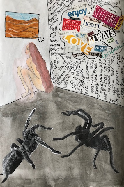 Student collage with spiders, nude woman looking at painting, and text