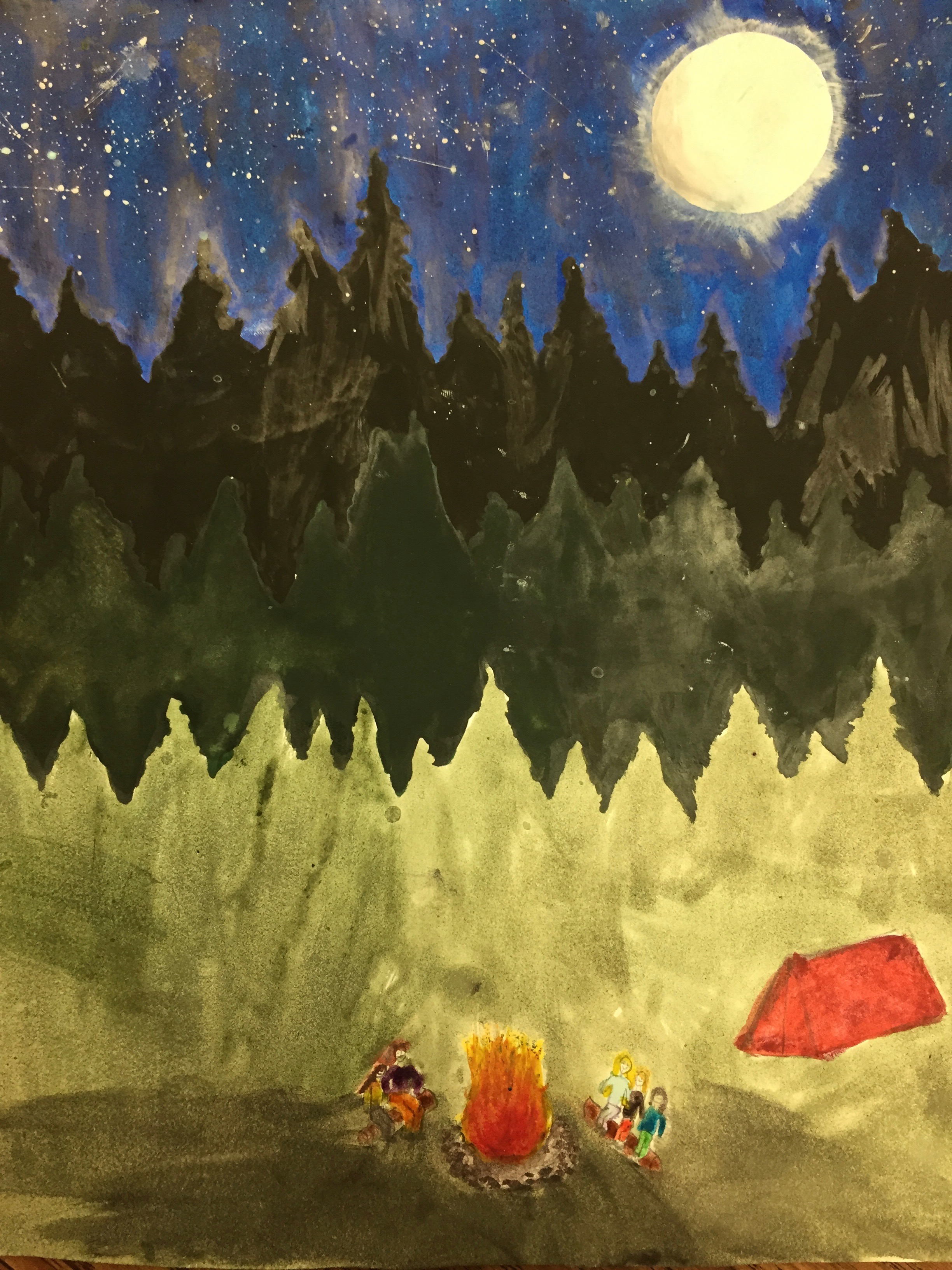 Student painting of campfire and trees in the moonlight
