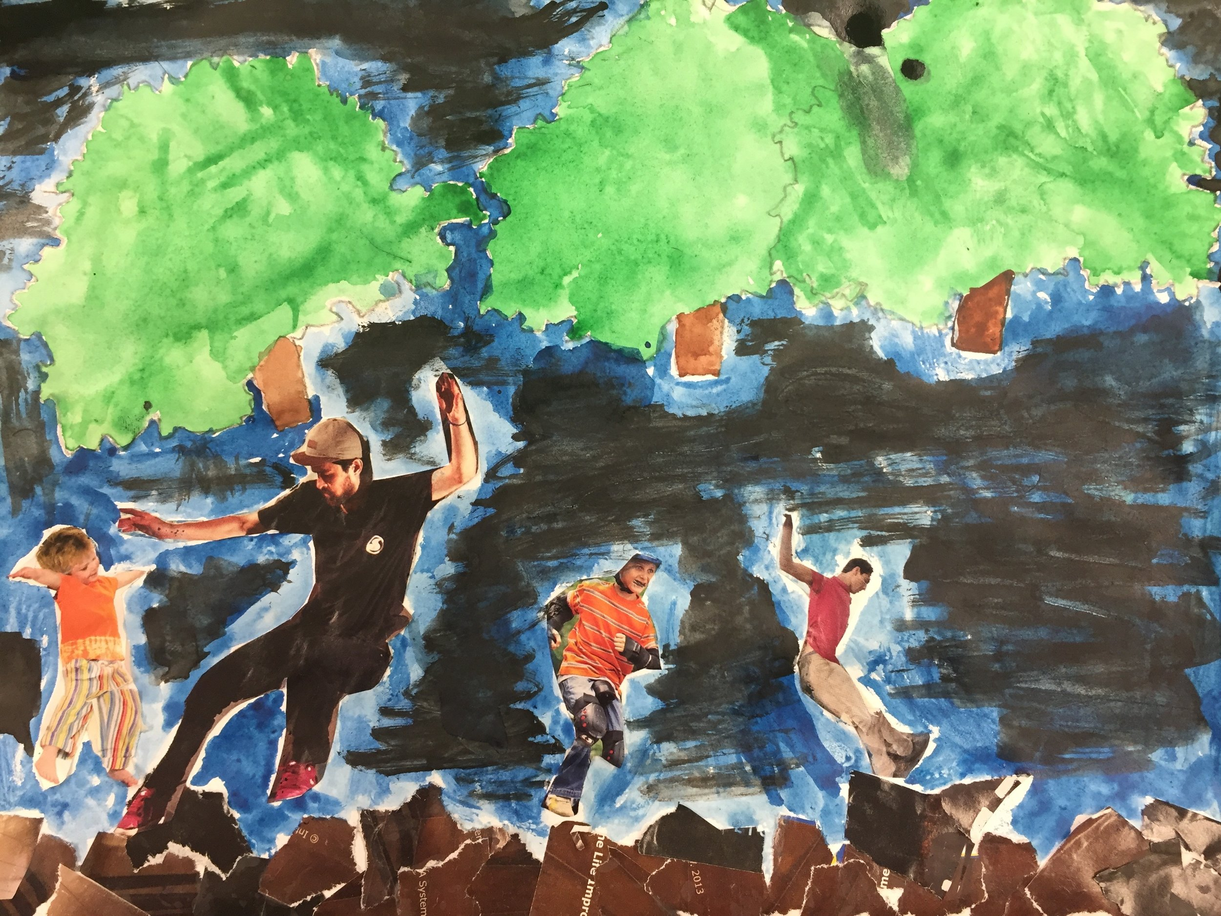 Student painting of landsape with collaged male figures in action