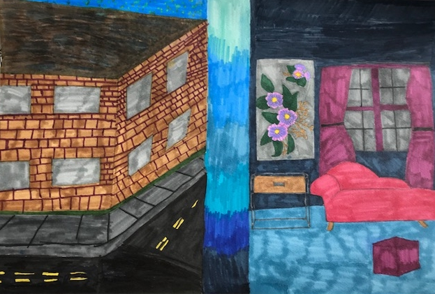 Student drawing of brick building and room interior