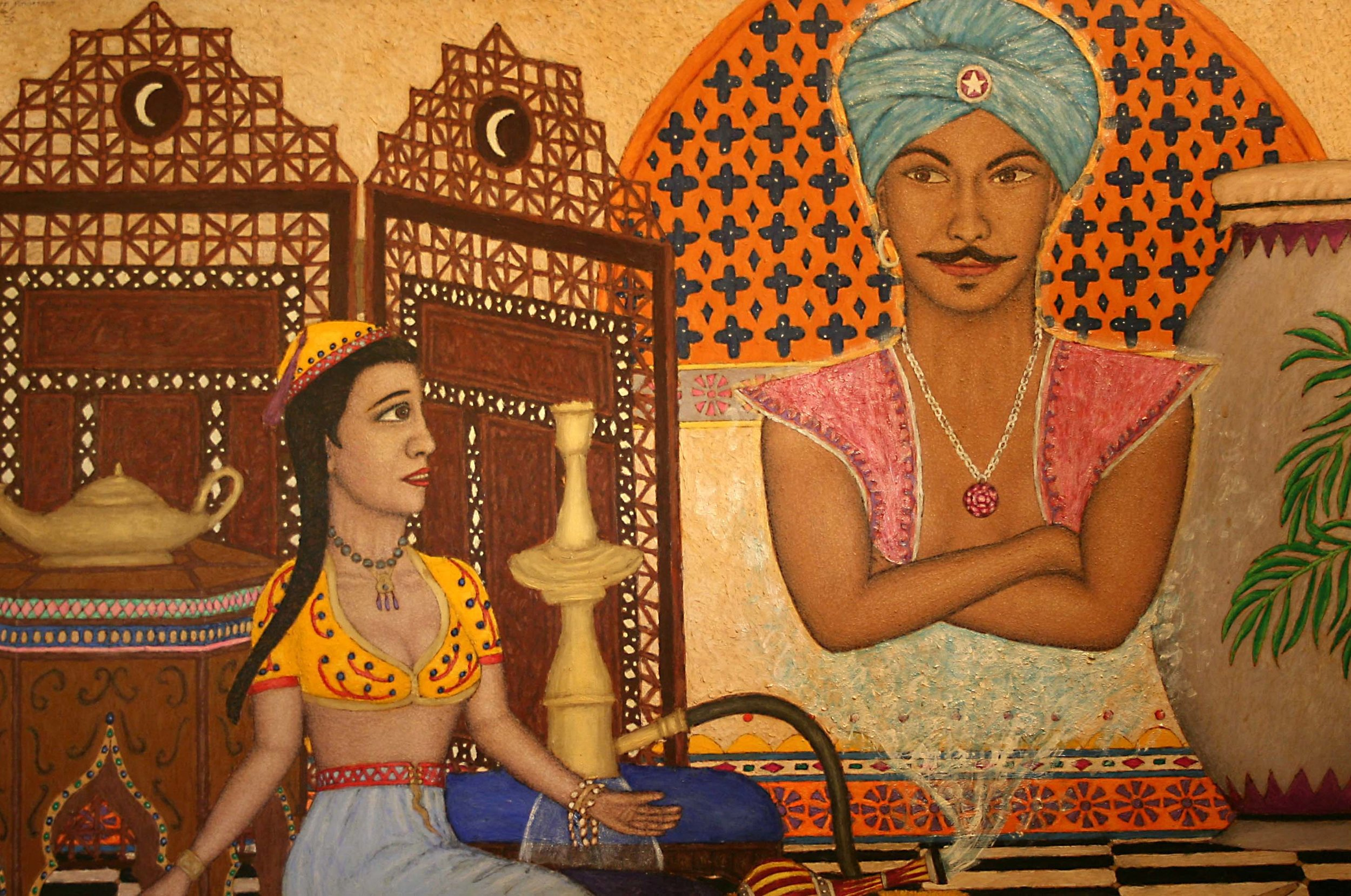 Painting of genie and woman