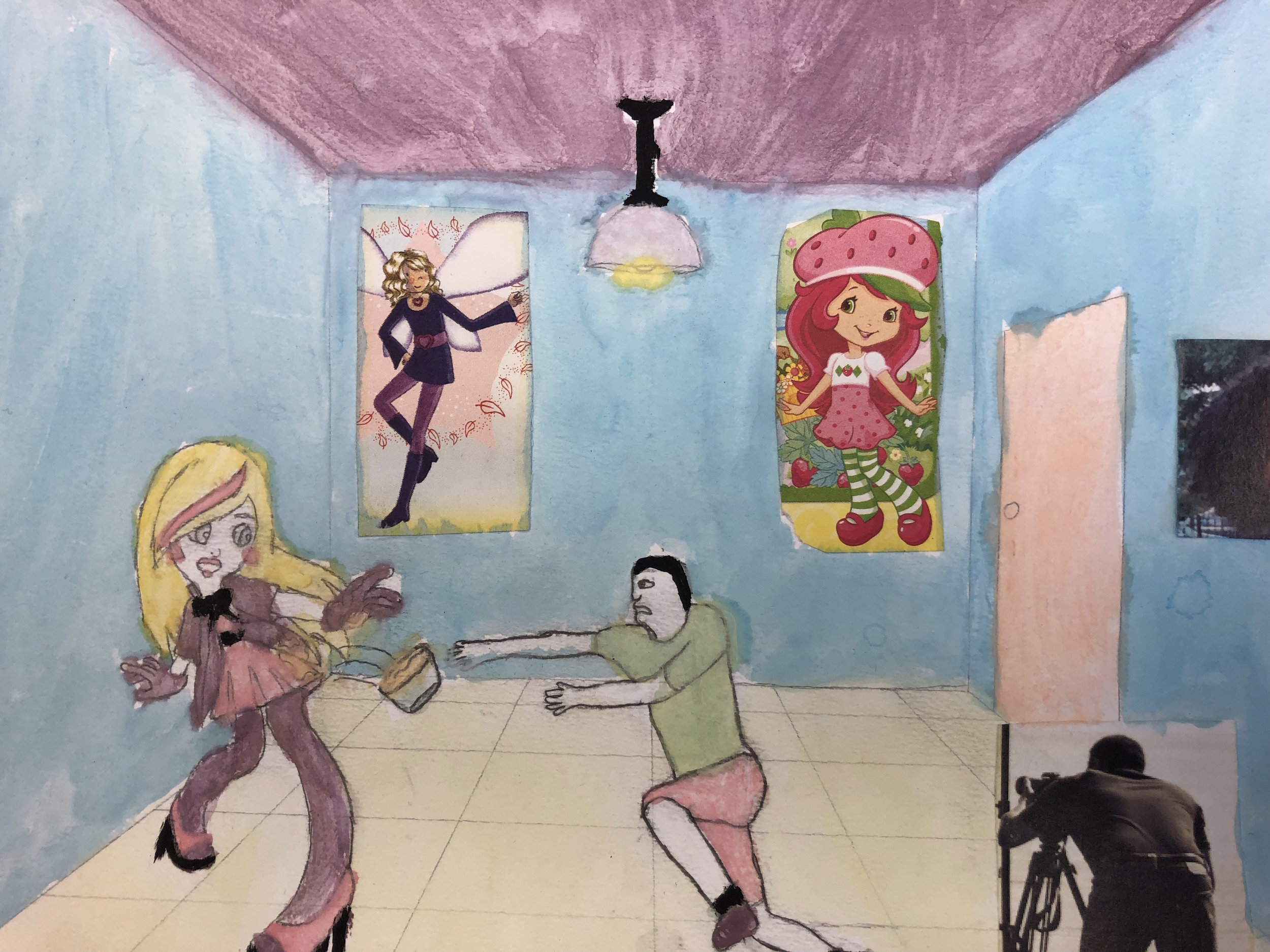 Student artwork of woman and man acting for film camera