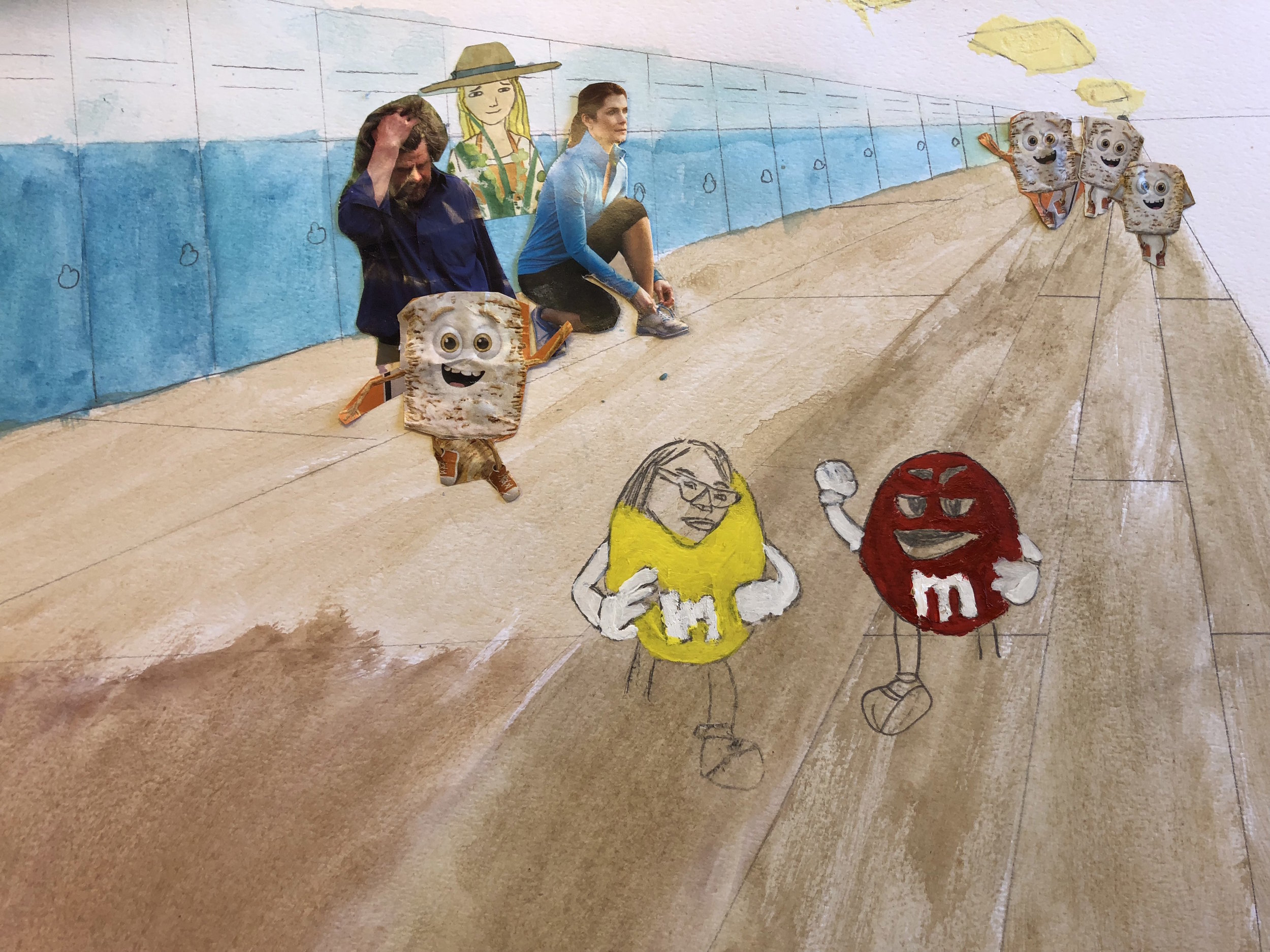 Student artwork featuring figures in a hallway with lockers and M&M's