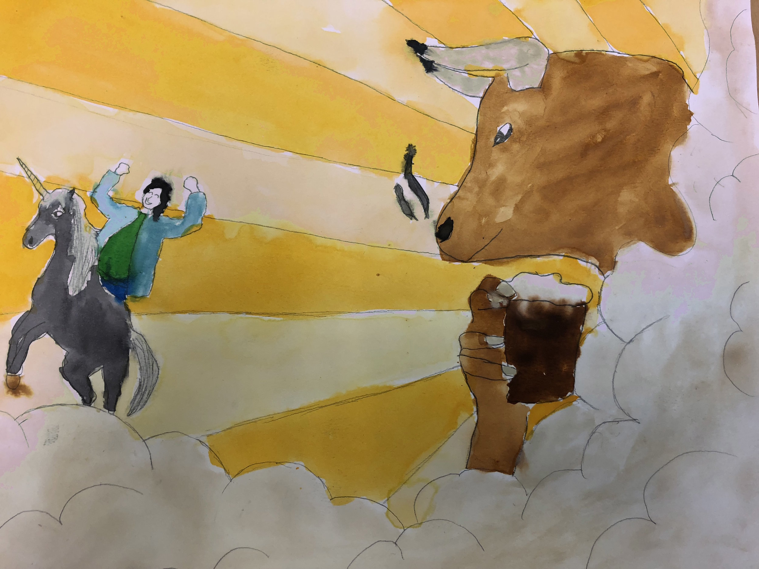 Student work of man riding unicorn and bull drinking from glass in the clouds