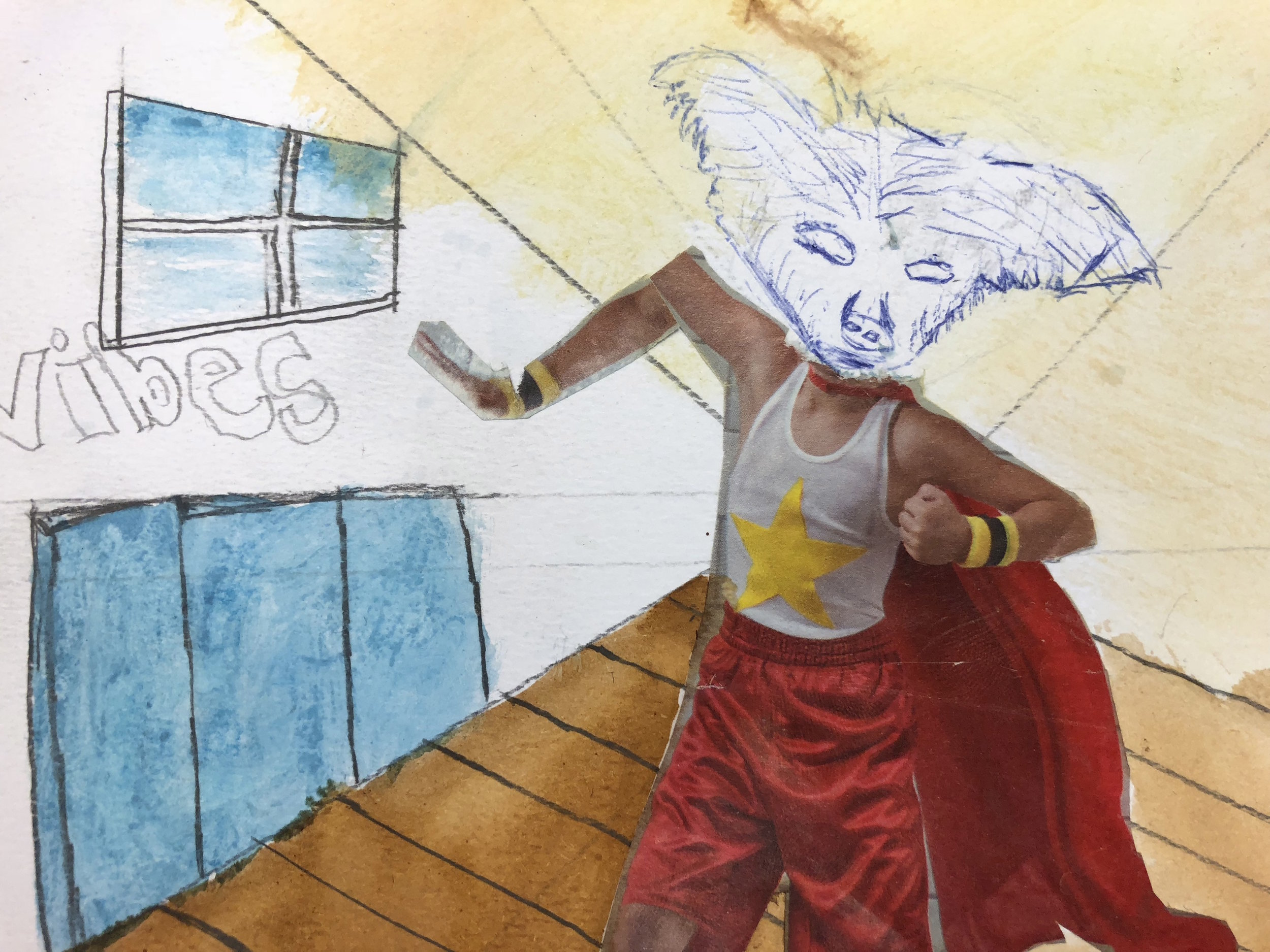 Student watercolor with beast's head on collaged superhero body