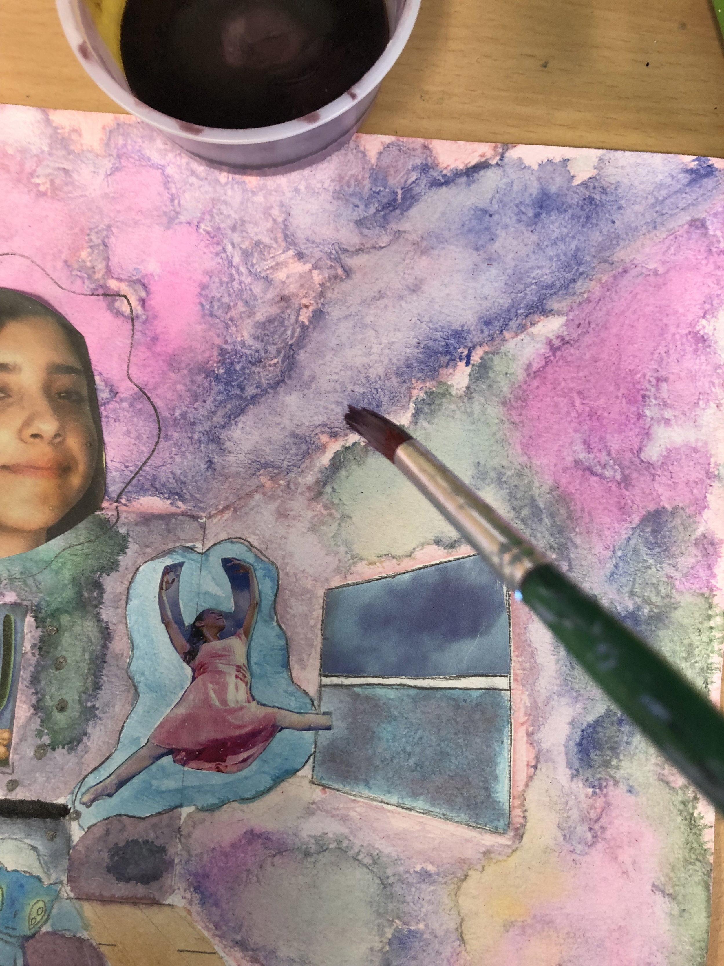 Student watercolor with collage elements