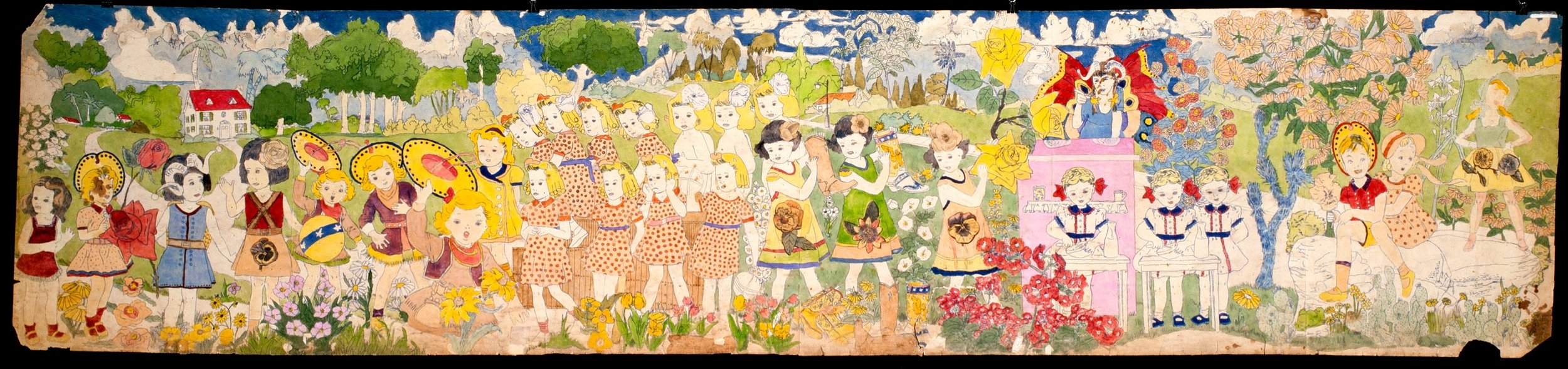 Henry Darger (American, 1892-1973). Untitled, mid-20th century. Watercolor, pencil, carbon tracing, and collage on pierced paper, 24 x 106 ½ in. Collection American Folk Art Museum, New York, museum purchase with funds generously provided by John and Margaret Robson, 2004.1.3B, Photo Credit: James Prinz ©American Folk Art Museum / Art Resource NY © 2017 Kiyoko Lerner / Artists Rights Society (ARS), New York
