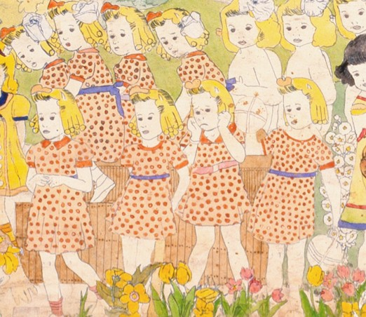 Henry Darger (American, 1892-1973). Untitled (detail), mid-20th century. Watercolor, pencil, carbon tracing, and collage on pierced paper, 24 x 106 ½ in. Collection American Folk Art Museum, New York, museum purchase with funds generously provided by John and Margaret Robson, 2004.1.3B, Photo Credit: James Prinz ©American Folk Art Museum / Art Resource NY © 2017 Kiyoko Lerner / Artists Rights Society (ARS), New York