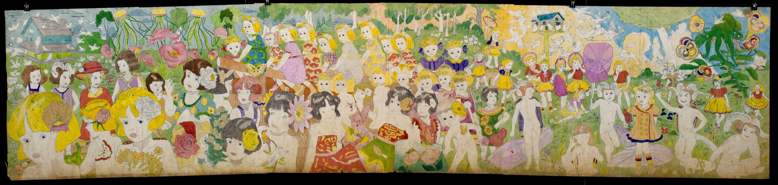 Henry Darger (American, 1892-1973). Untitled, mid-20th century. Watercolor, pencil, and carbon transfer on paper, 24 x 110 in. Collection of Robert A. Roth
