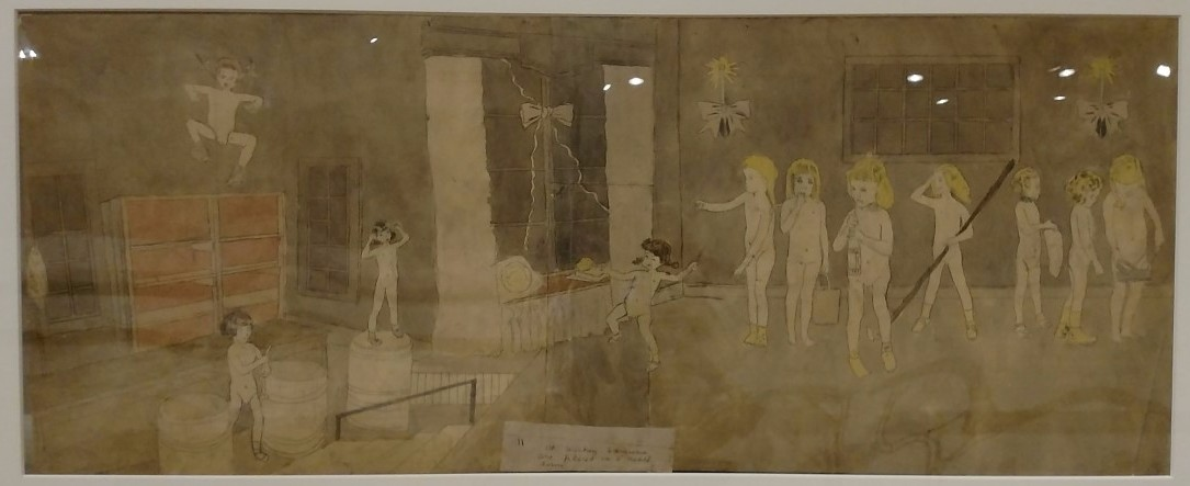 Henry Darger (American, 1892-1973). At Wickey Lasinia. Are Placed in a Death House, ca. 1940-1950. Mixed media, 28 ½ x 57 in. (framed). Photo by John Faier. Collection of Robert A. Roth
