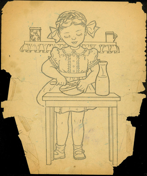 Children's book illustration used many times by Darger, Collection of Intuit: The Center for Intuitive and Outsider Art