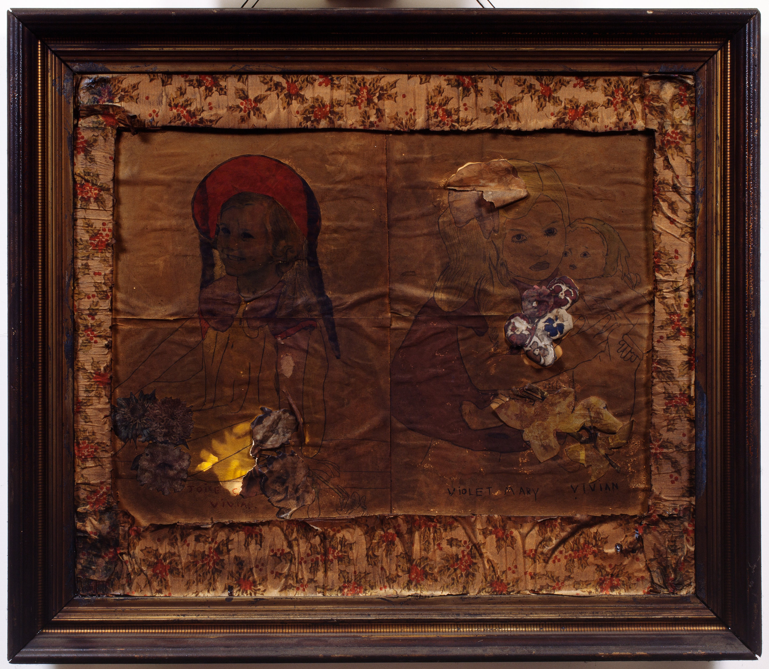 Henry Darger (American, 1892-1973). Violet, Mary and Joice Vivian, ca. 1940s. Mixed media on paper, 26 x 30 in. (framed). Photo by John Faier.Collection of Robert A. Roth